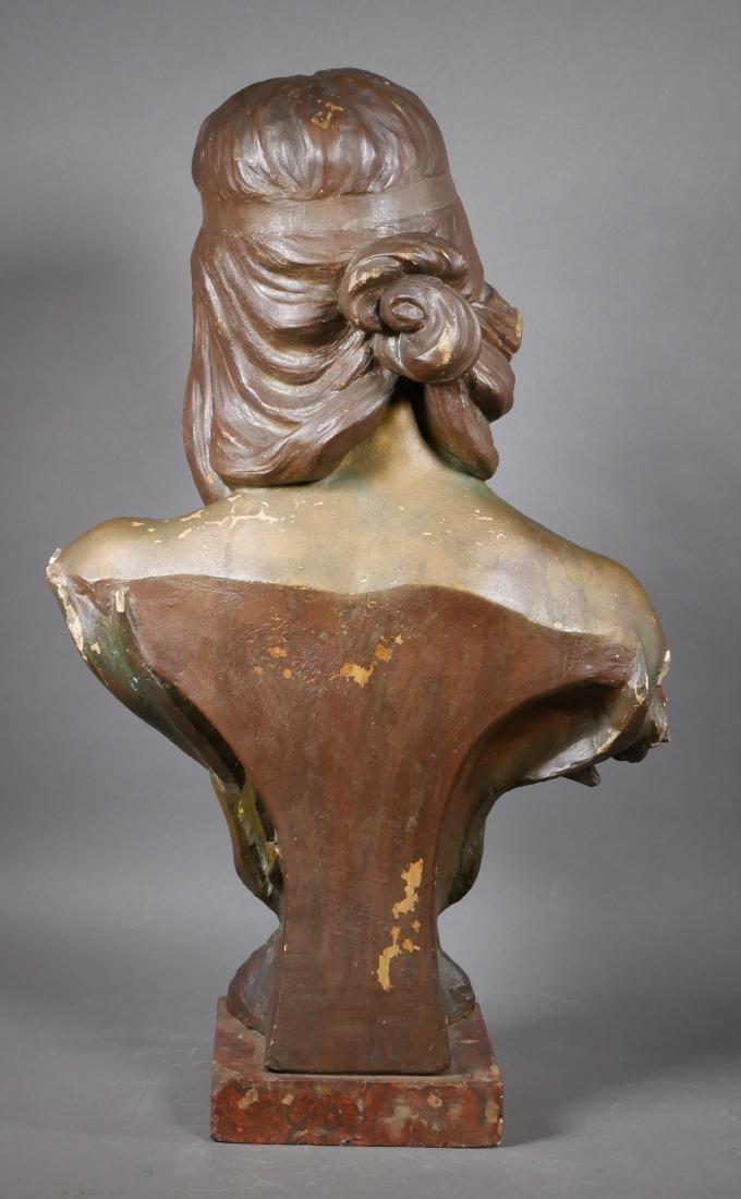 Antique Art Nouveau Chalkware Bust - 4
