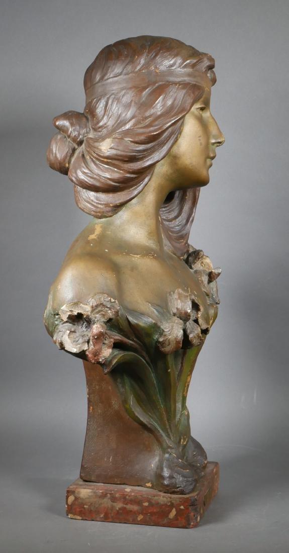 Antique Art Nouveau Chalkware Bust - 5