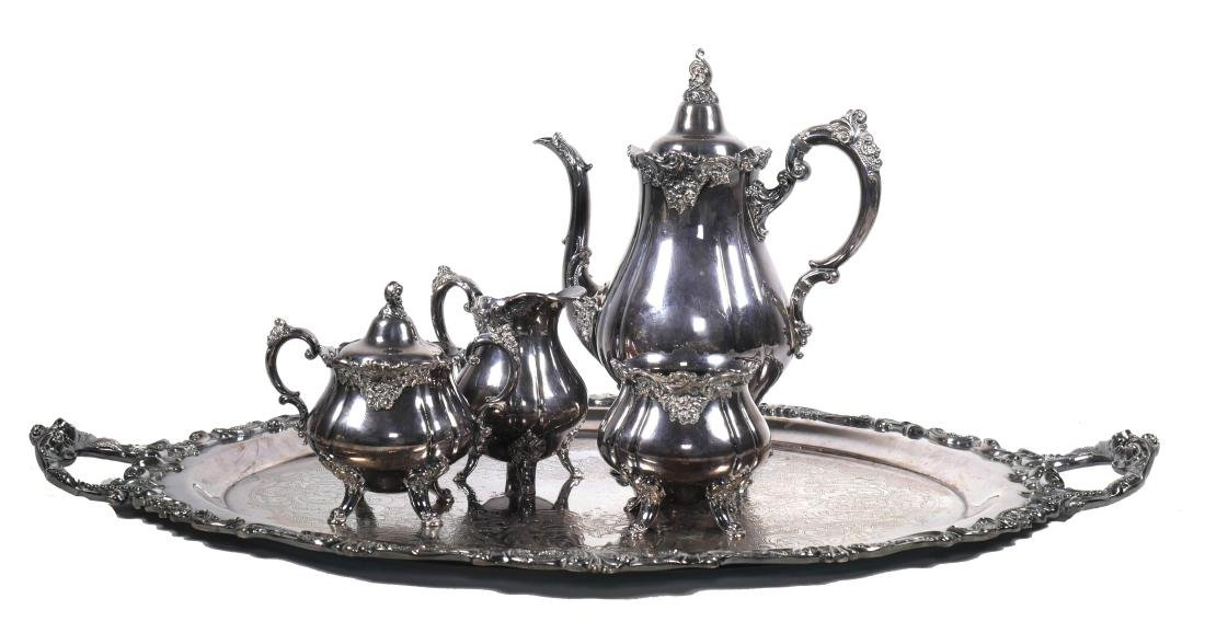 Wallace Baroque Silver Plated Tea Service - 2
