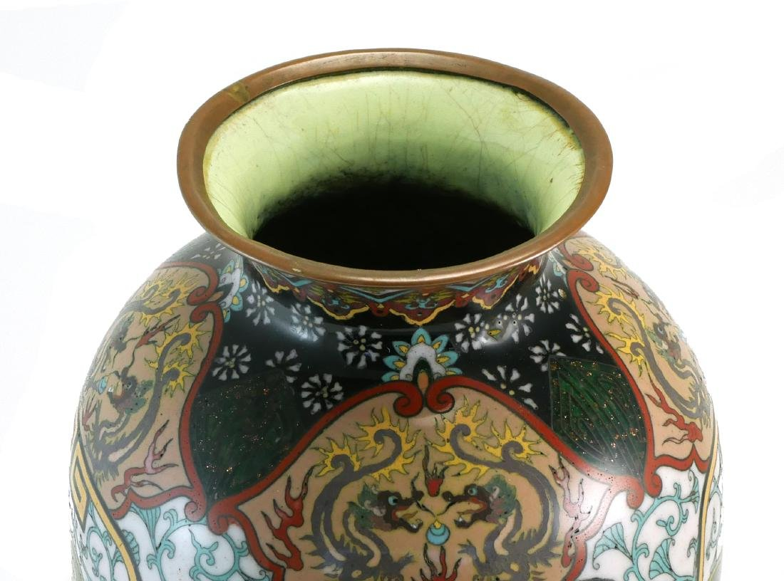 Chinese Cloisonne Dragon & Flower Vase - 2