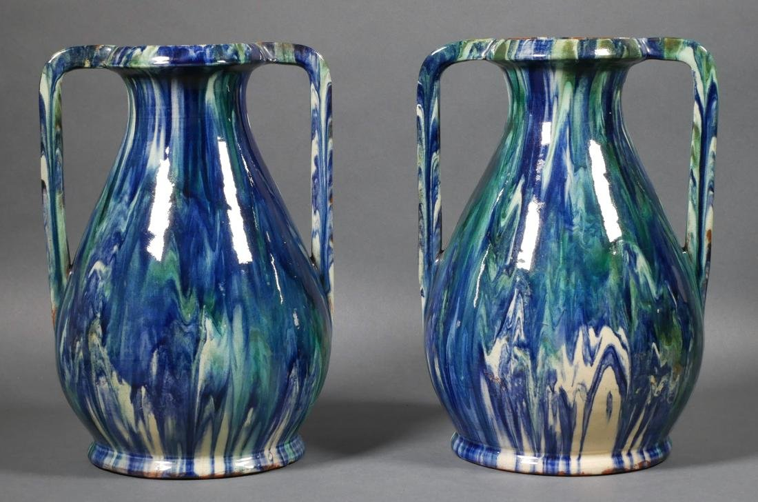 Pair of French Modern Drip Glaze Vases