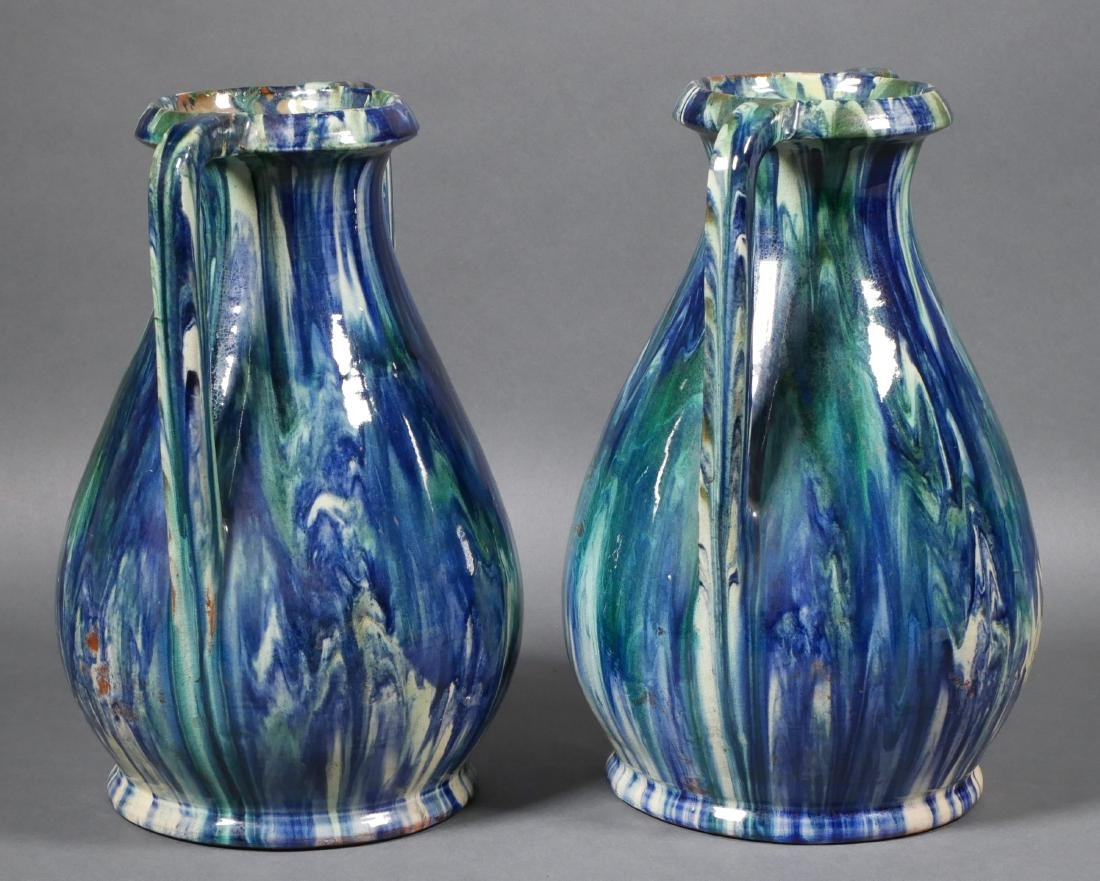 Pair of French Modern Drip Glaze Vases - 2