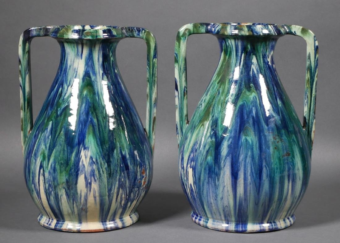 Pair of French Modern Drip Glaze Vases - 3