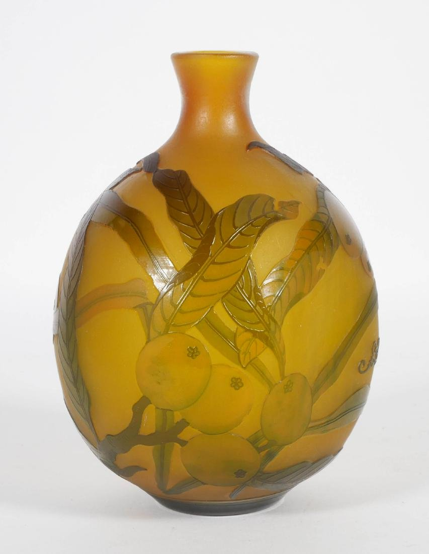 Galle Style French Cameo Vase w/ Citrus
