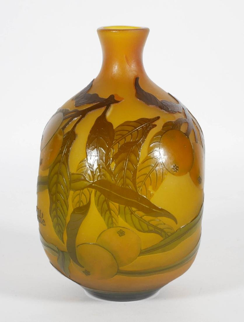 Galle Style French Cameo Vase w/ Citrus - 4