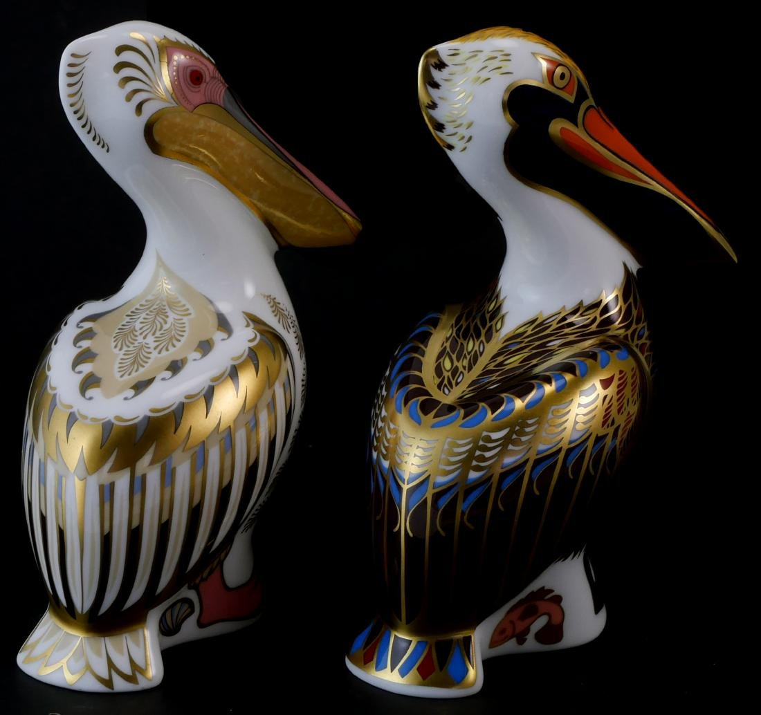 Pair Royal Crown Derby Limited White Pelicans - 2