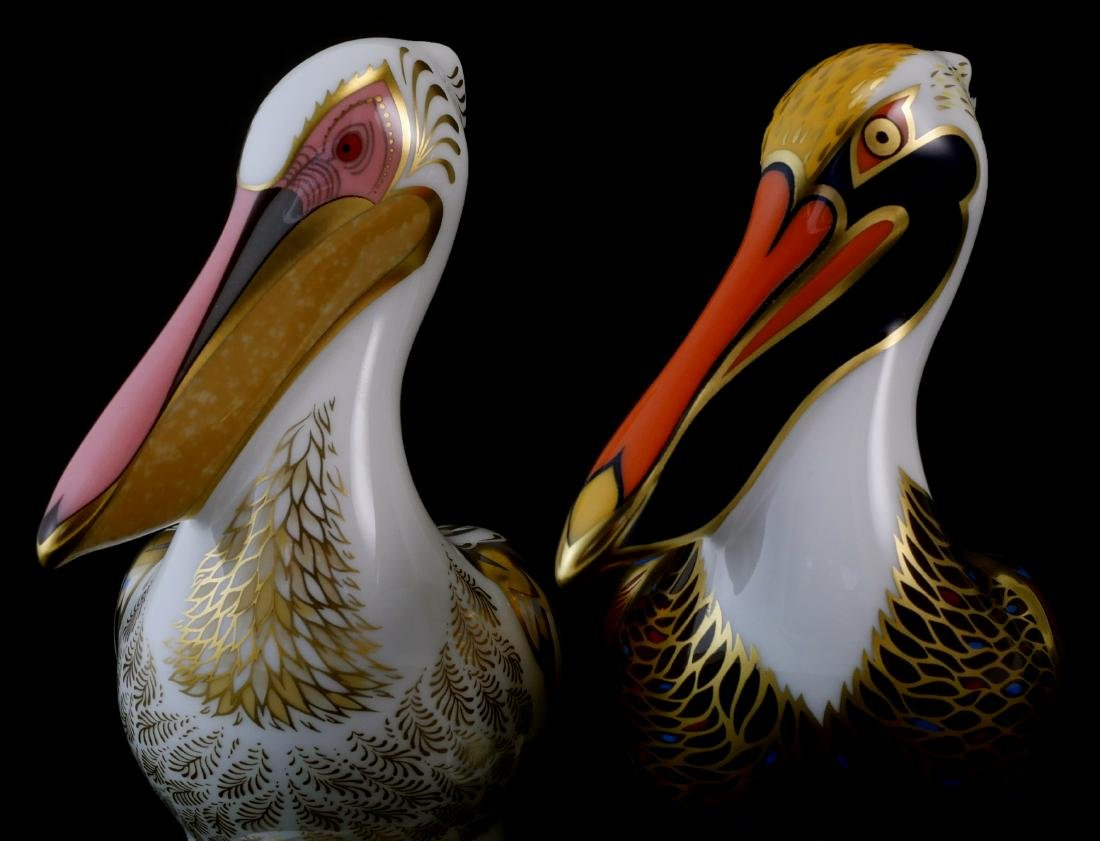Pair Royal Crown Derby Limited White Pelicans - 4