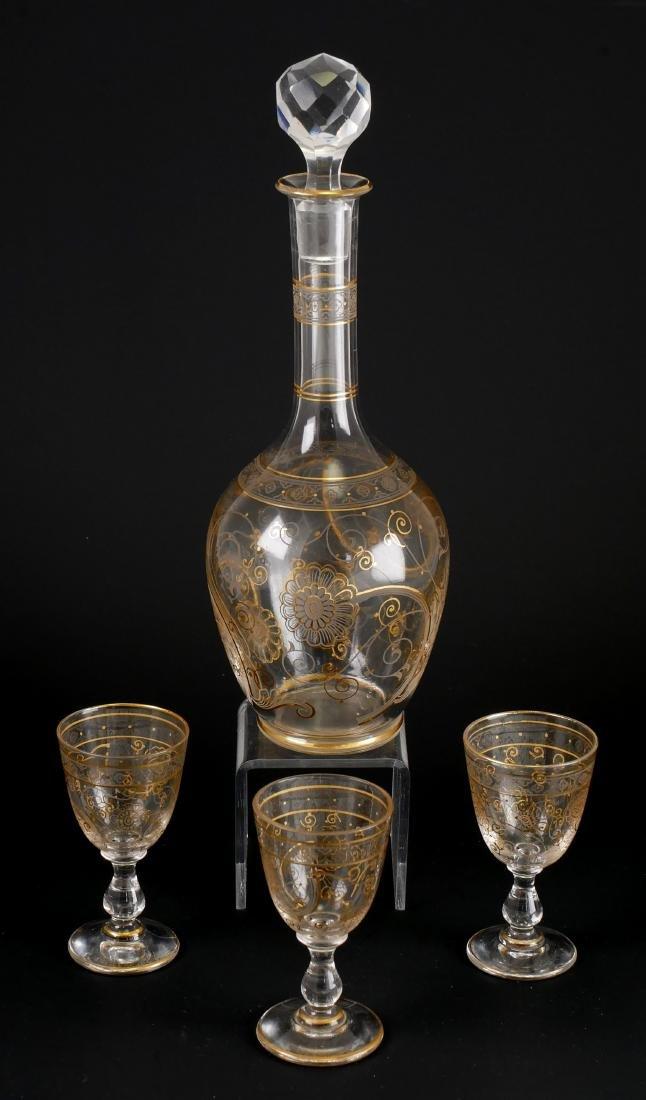 Gilt Cordial Set w/Decanter & 3 Glasses