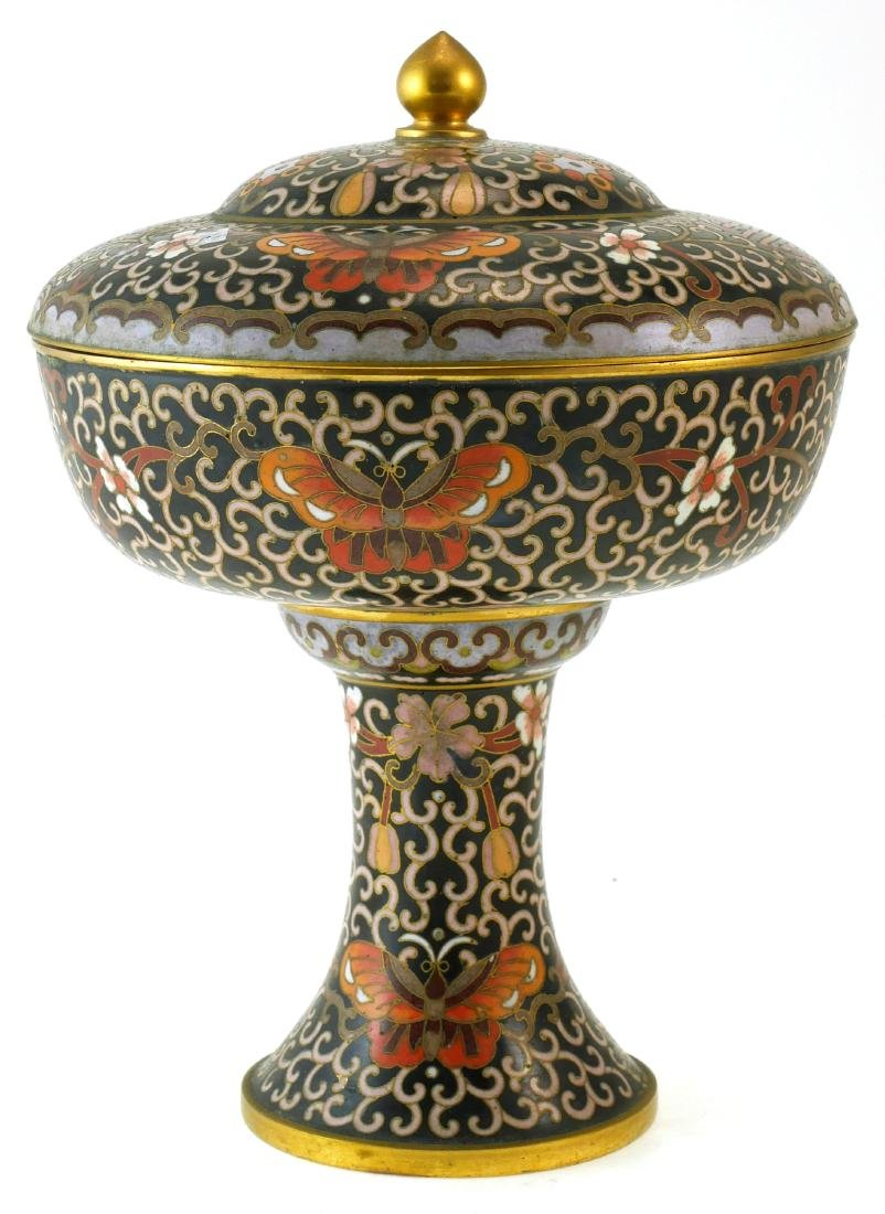 Chinese Cloisonne Lidded Compote