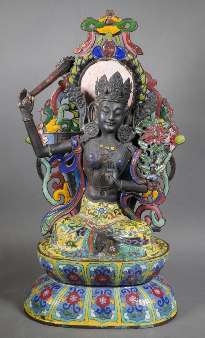 Antique Cloisonne Enamel Tara Buddha