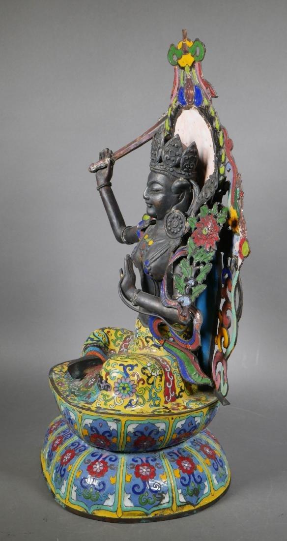 Antique Cloisonne Enamel Tara Buddha - 2
