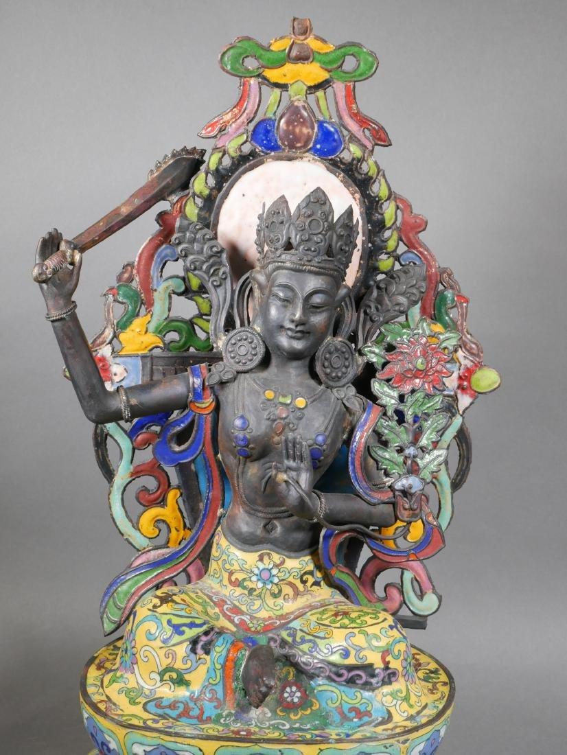 Antique Cloisonne Enamel Tara Buddha - 4