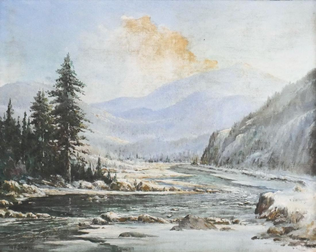 W.F. Snow Adirondack Mountains Painting