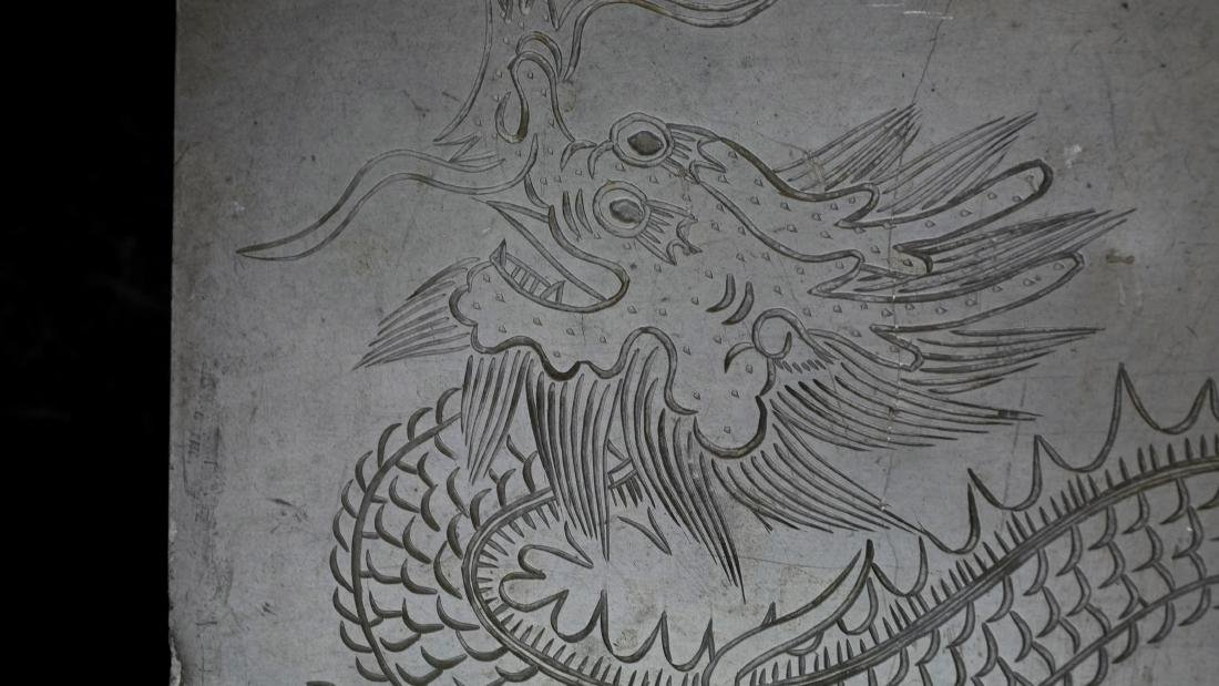 Antique Chinese Pewter Dragon Box - 6