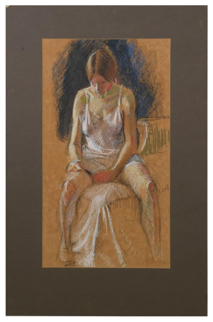 Maggie Siner Pastel Drawing of a Young Girl - 2