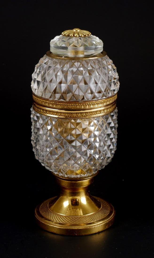 Vintage French Baccarat Style Crystal Egg Box