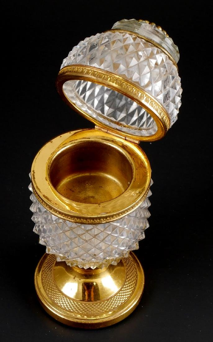 Vintage French Baccarat Style Crystal Egg Box - 2