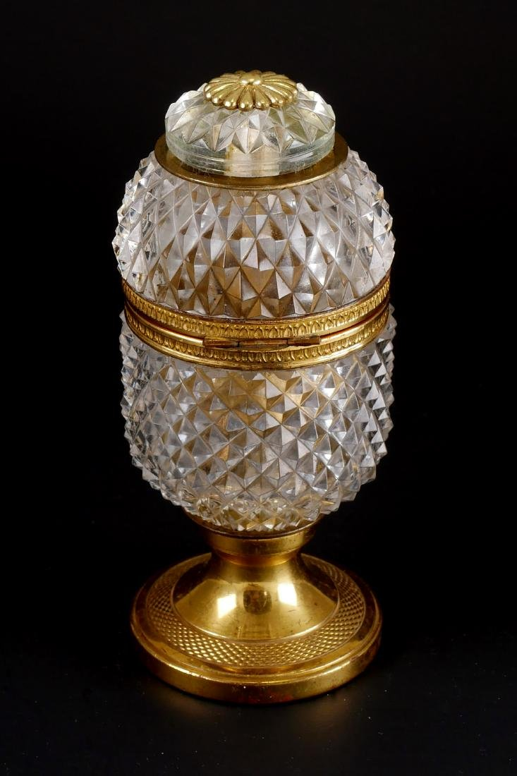 Vintage French Baccarat Style Crystal Egg Box - 3