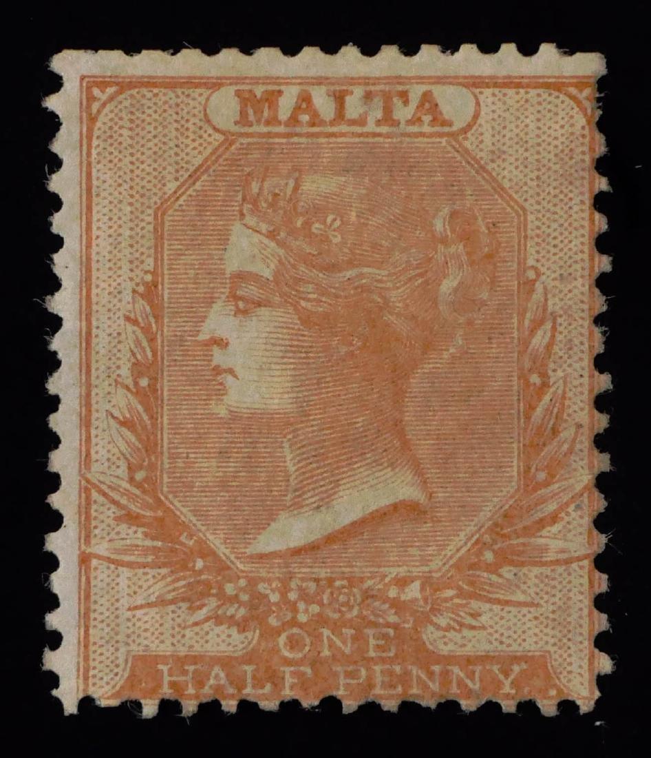 MALTA, 1860-61, 1/2p buff #1 unused