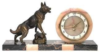 Vintage Art Deco Clock w German Shepherd Dog