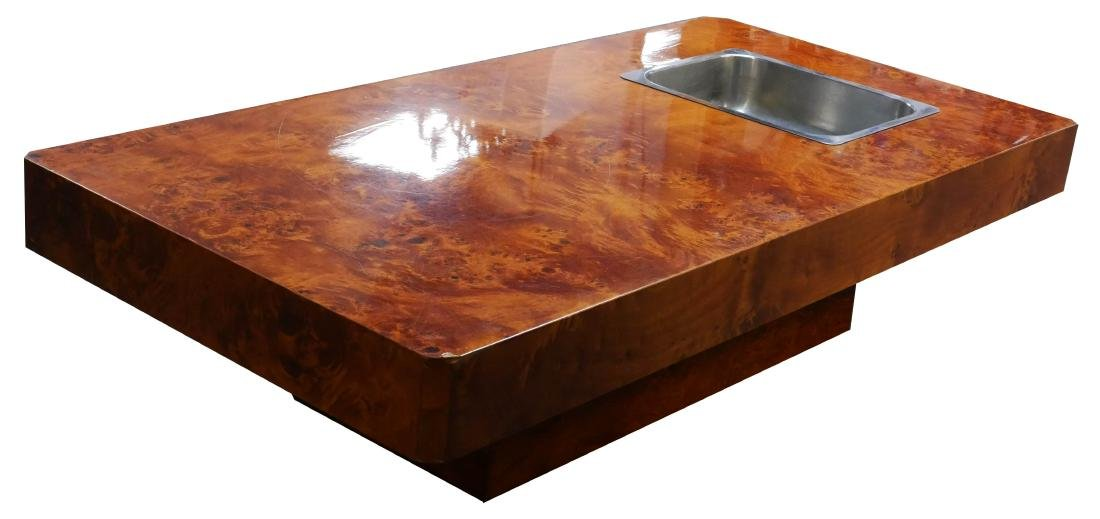 Willy Rizzo Coffee Table.Willy Rizzo 1970s Burl Coffee Cocktail Table