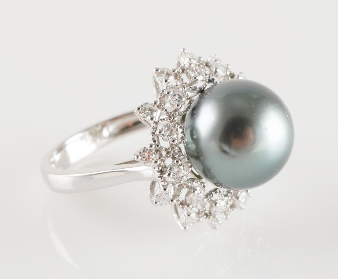 Tahitian Pearl & Diamonds 14k White Gold Ring