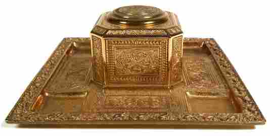 TIFFANY VENETIAN Gilt Bronze Inkwell
