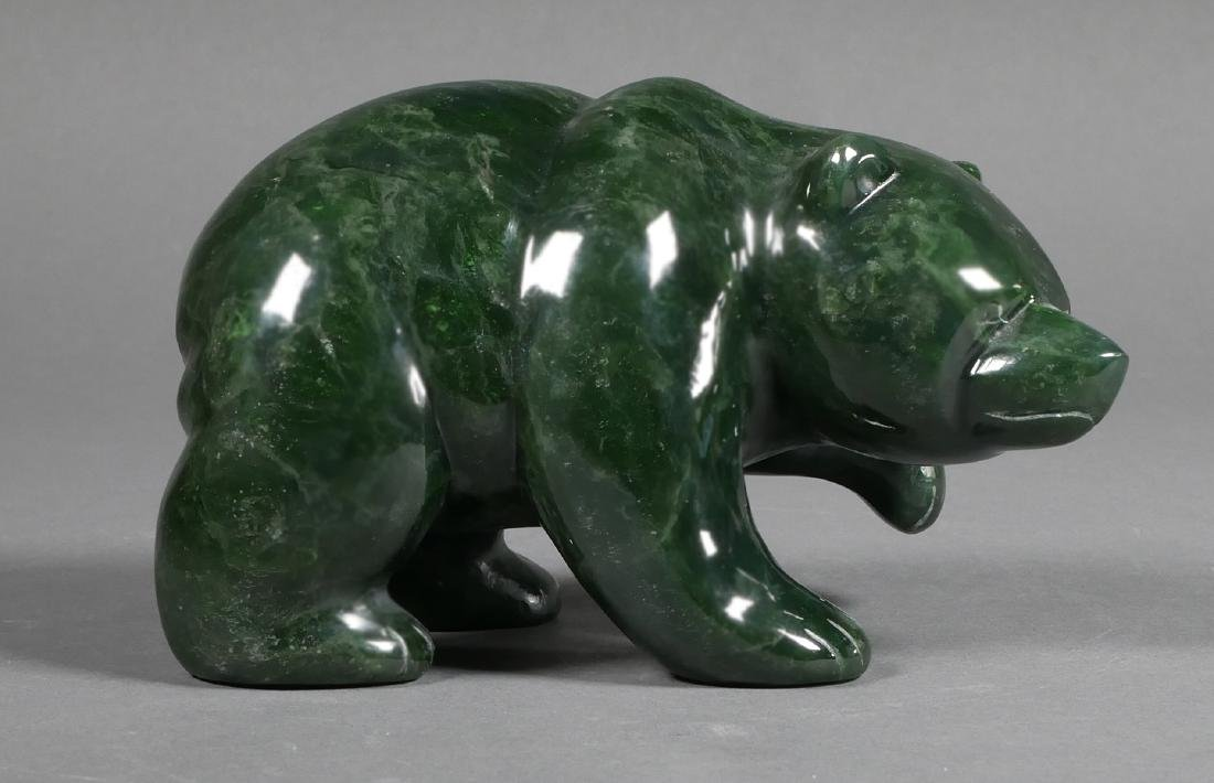 INUIT Carved Bear Statue, Jade or Serpentine
