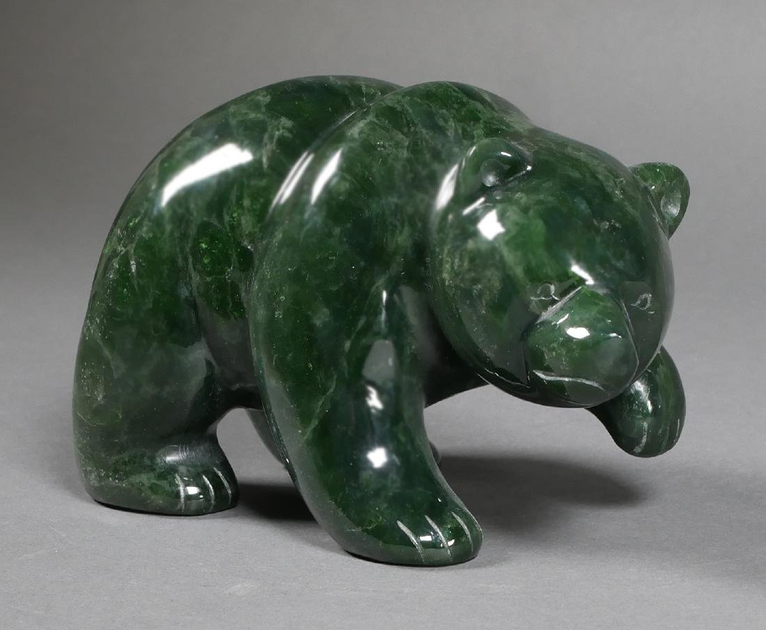 INUIT Carved Bear Statue, Jade or Serpentine - 2
