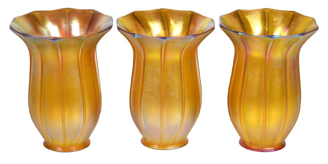 QUEZAL 3 Iridescent Art Glass Shades