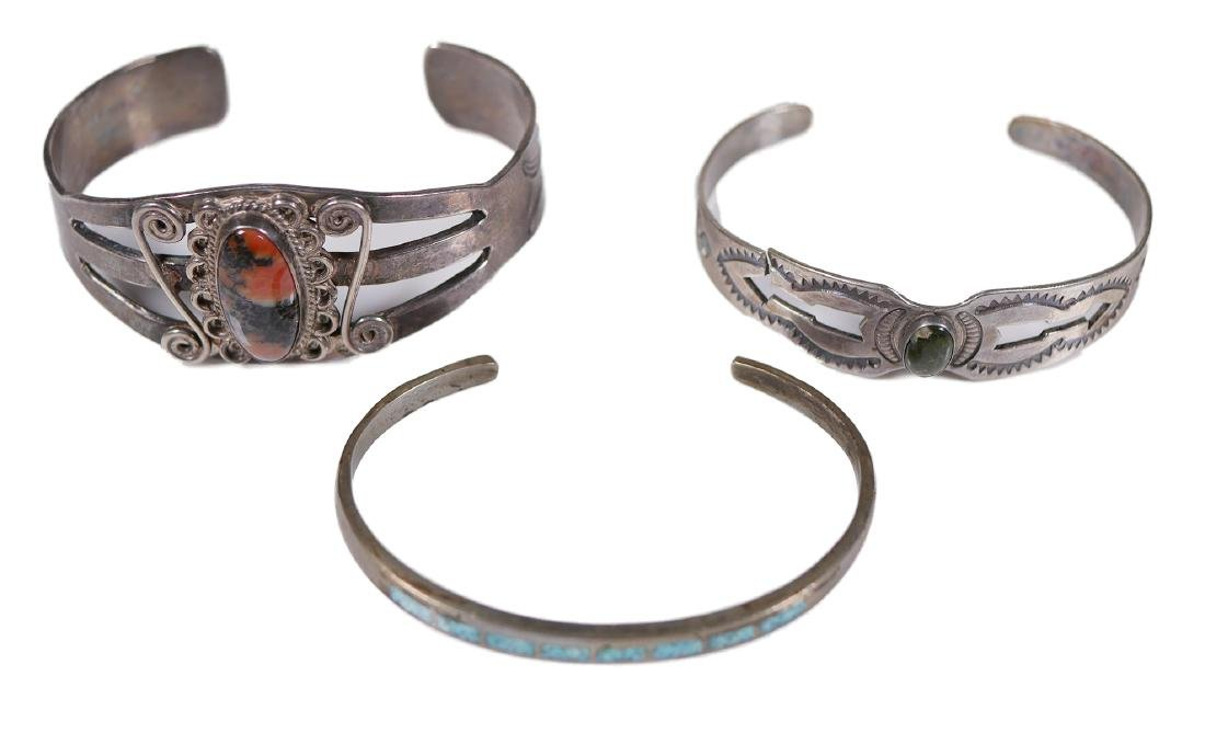 3 Navajo Sterling Silver Bracelets