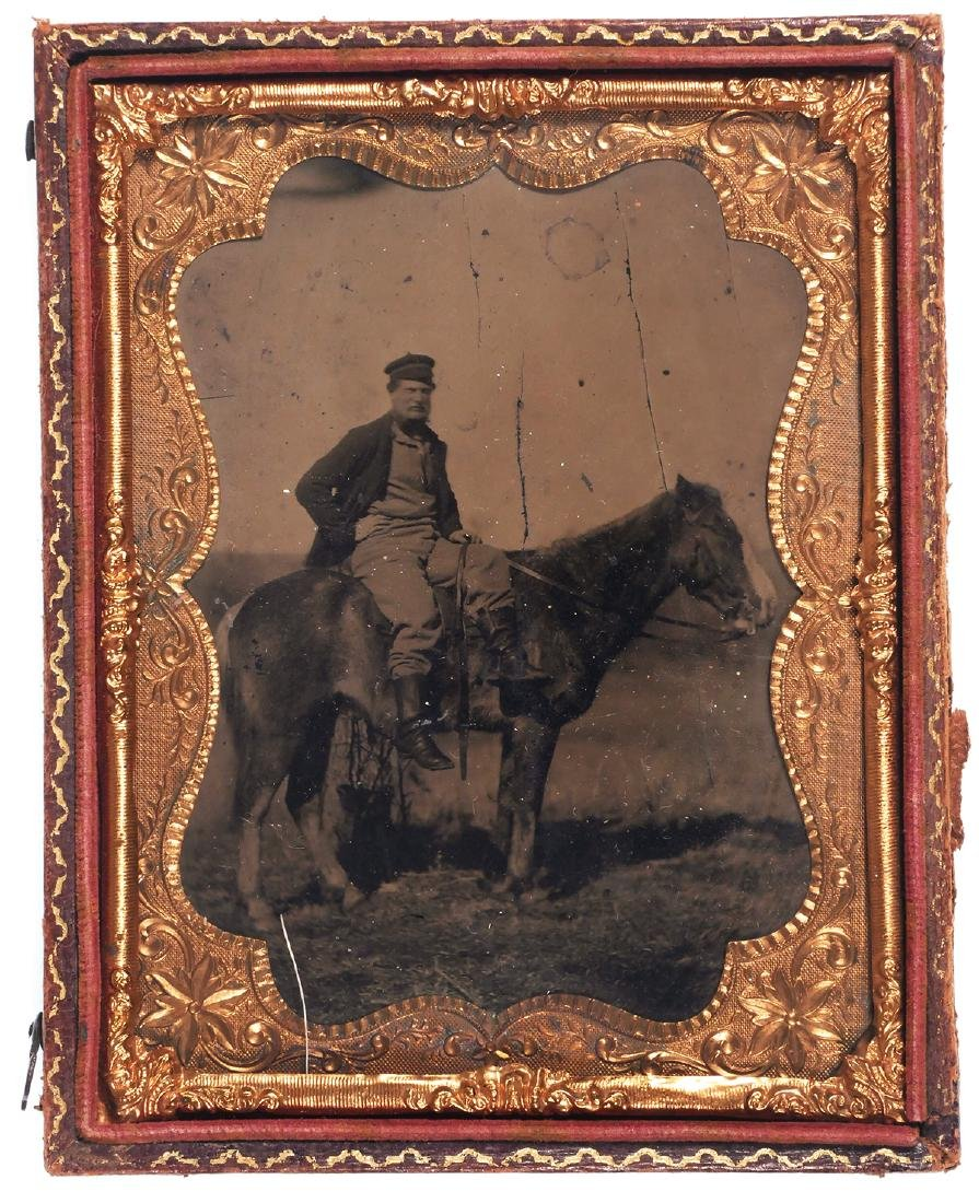 1/4 Plate Tintype, Soldier Outdoor on Horseback
