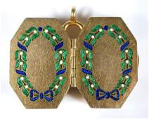 1840s French 18k Gold Enameled Double Snuff Box