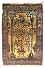 Old Wool Persian Tree of Life Pictorial Rug