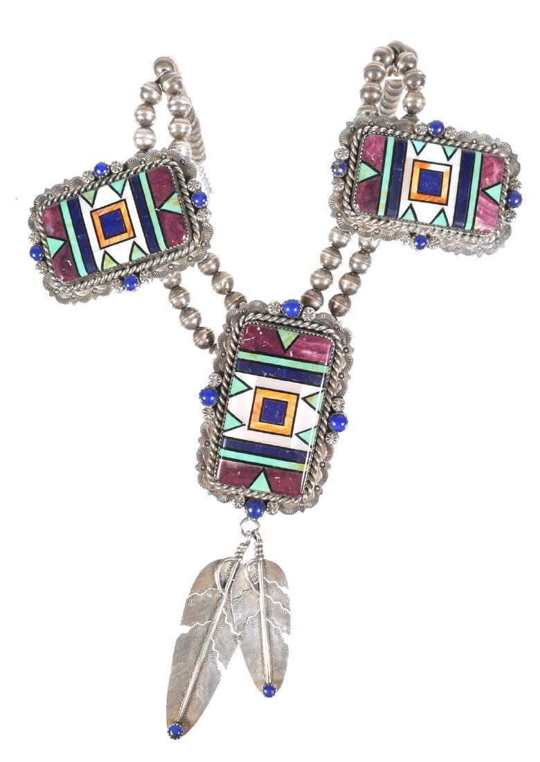 NAVAJO Sterling & Mosaic Necklace, Chavez