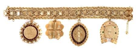 14k Gold Charm Bracelet Locket Pendants