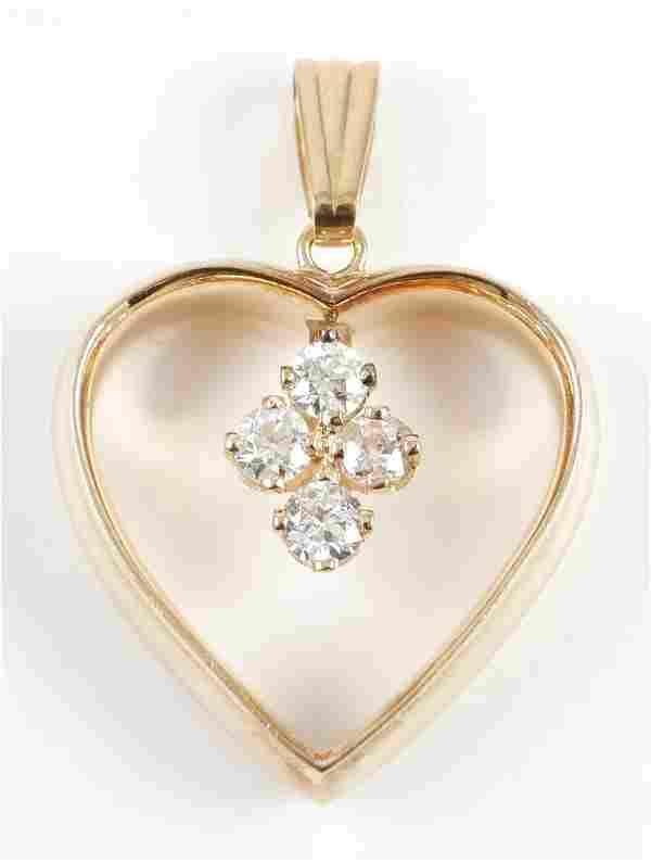 14K DIAMOND Heart Pendant