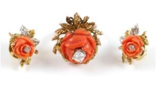 14K CORAL  DIAMOND Carved Rose Earring  Ring Set