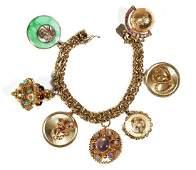 14k 18k Gold Charm Bracelet, Globe, Jade etc.