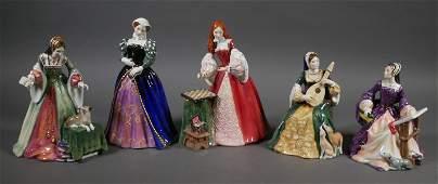 (5) Royal Doulton TUDOR ROSES Series Figurines
