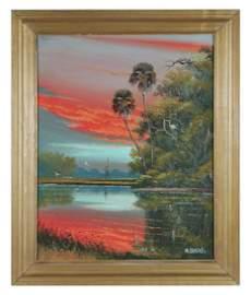 WILLIE DANIELS, Highwaymen Landscape Painting