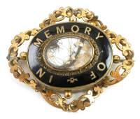 Victorian Memorial Mourning Brooch Enamel
