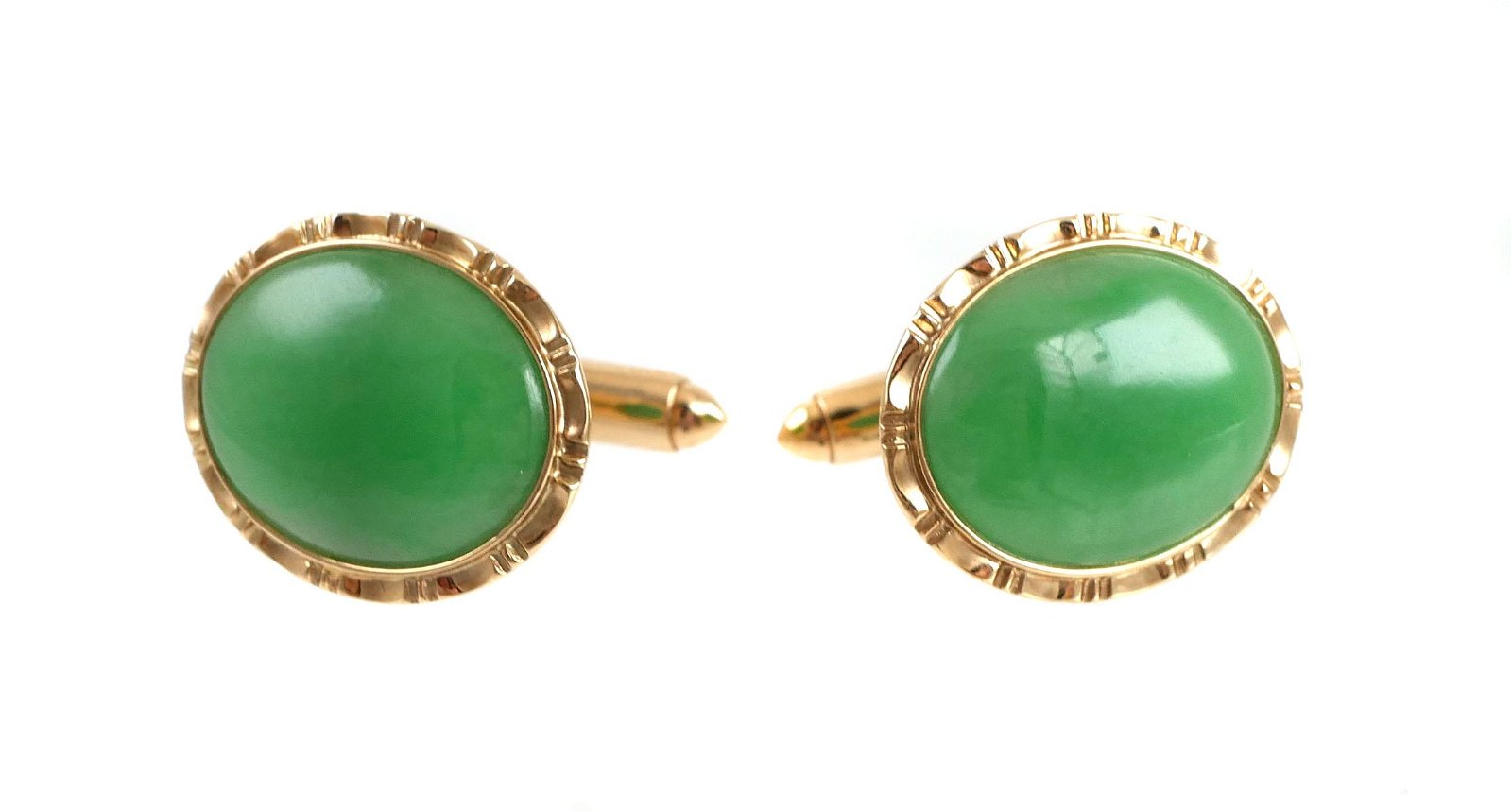14k Gold Jade Cufflinks