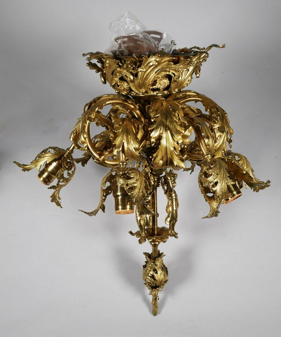 Brass Figural Ceiling Fixture, Wired