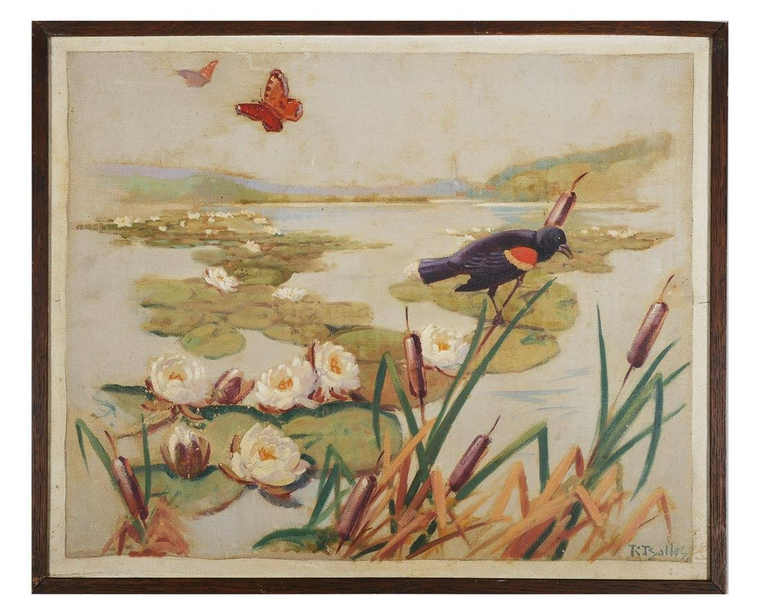 Early 20th O/C, Bird in Landscape, Illegible