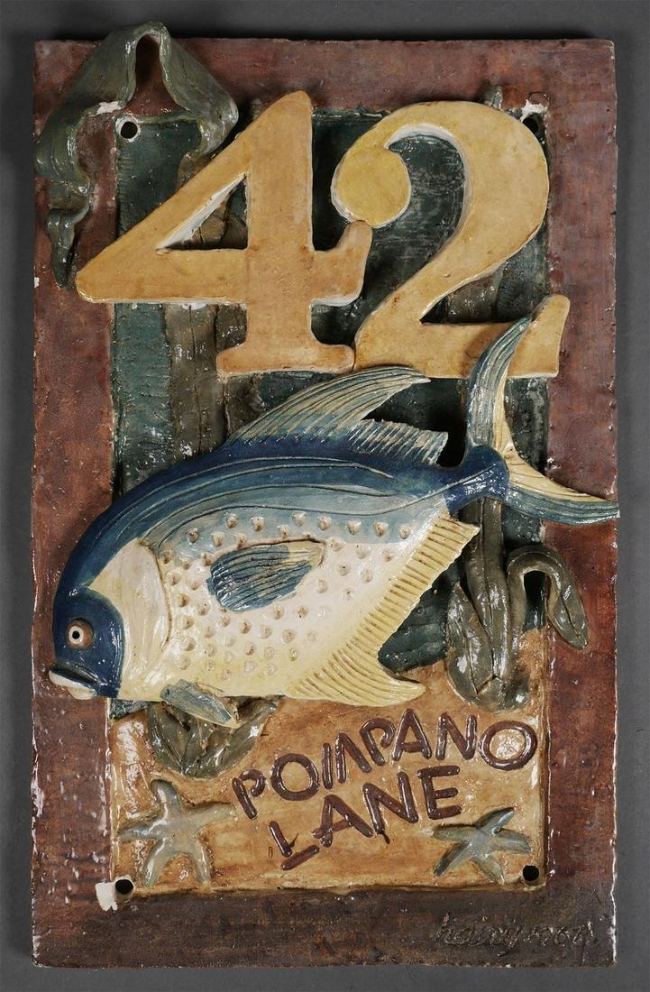 Vintage Florida Ceramic House Fish Plaque