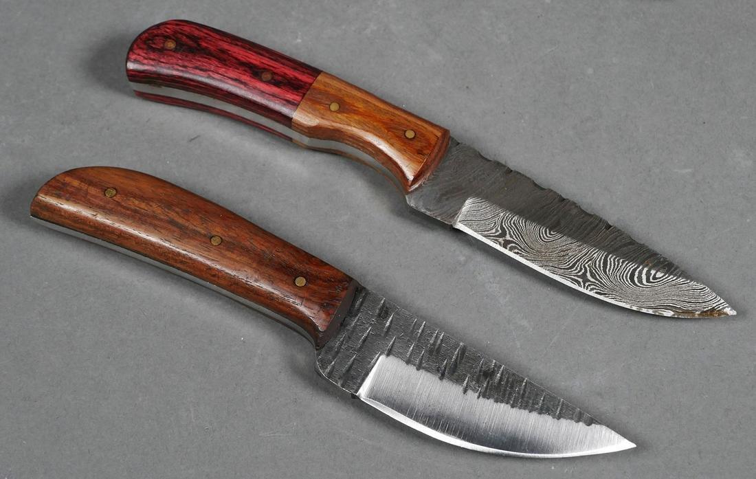 (2) Custom Fixed Blade Damascus Steel Knife