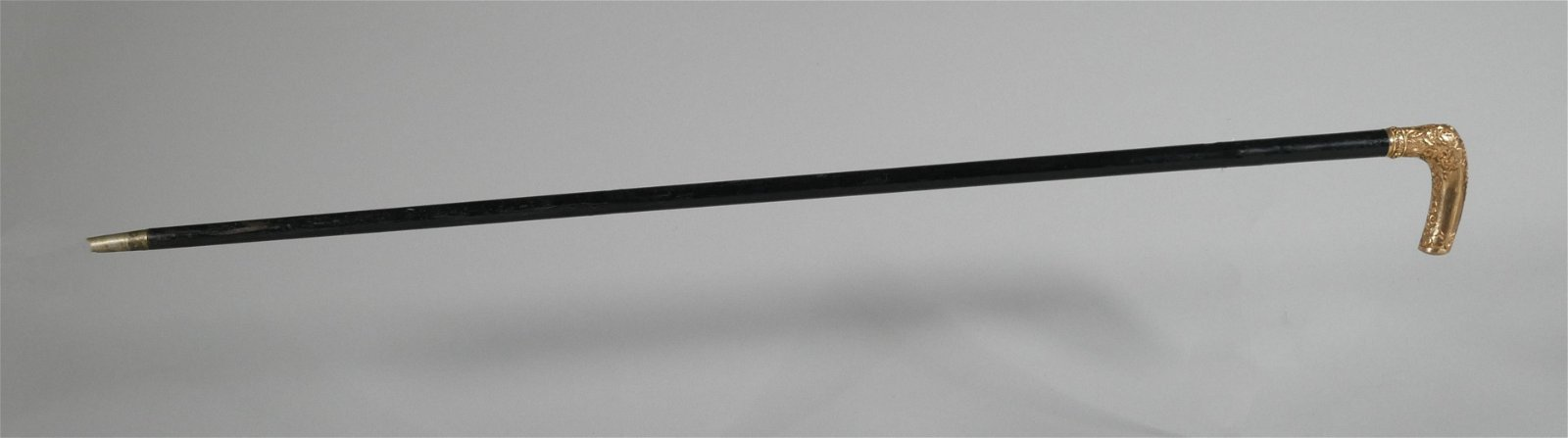 Walking Stick, Gold Plated Handle