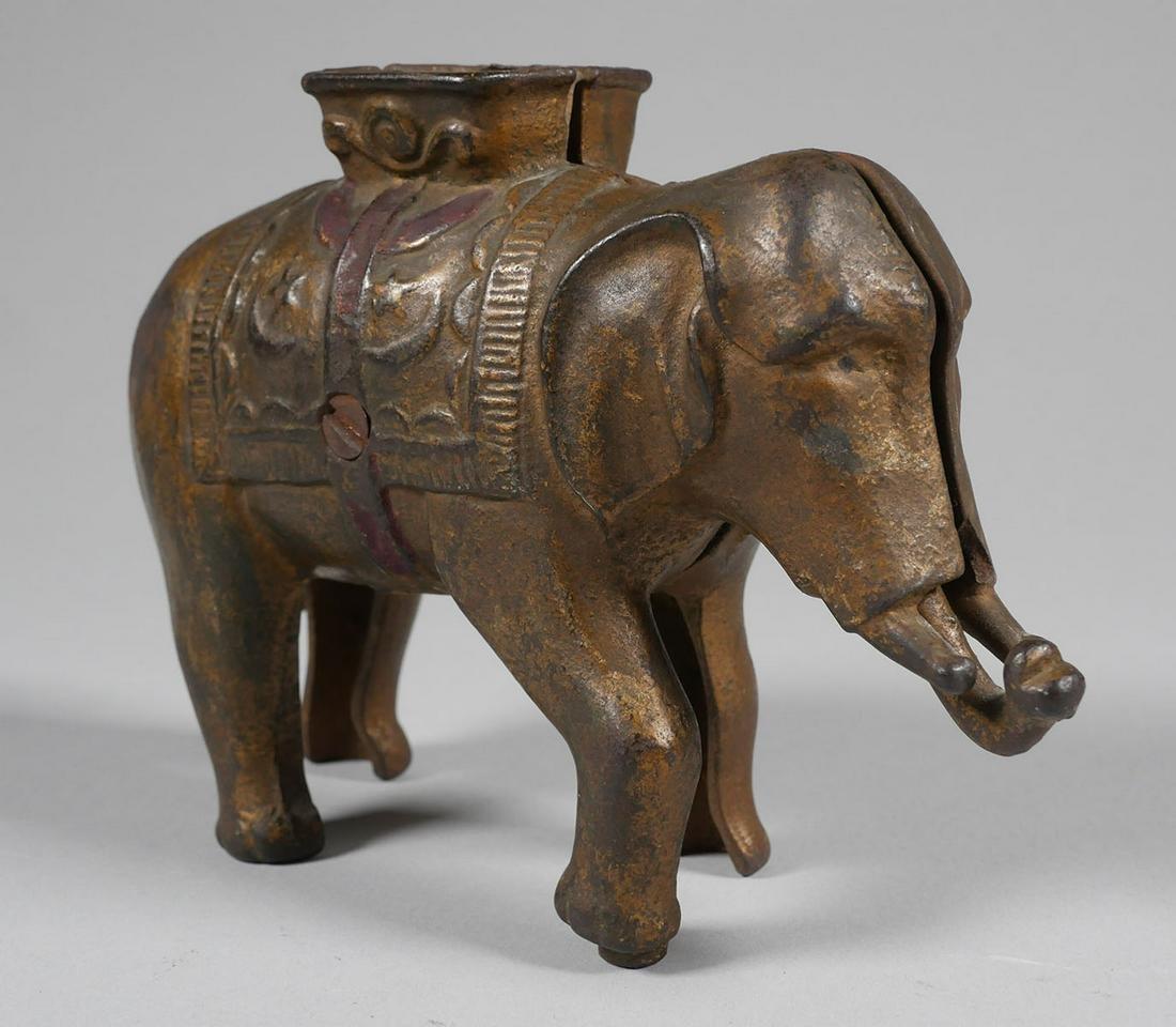 Antique ELEPHANT Cast Iron Still Bank