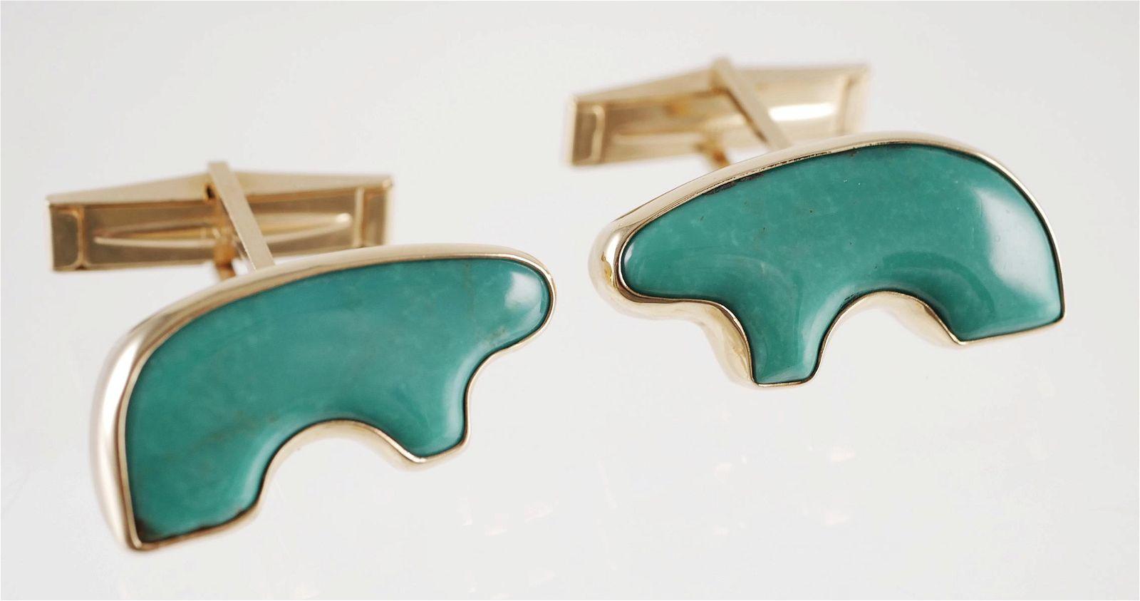 """Pair 14K Gold & Turquoise """"Golden Bear"""" Cufflinks"""